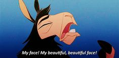 Kuzco: Ahh! My face! My beautiful, beautiful face! - The Emperor's New Groove #gif