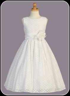 Polycotton Girls Communion Dress w. Burnout Dots & Taffeta Sash    Isabellasfate.com