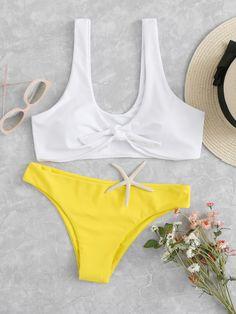 Shop Mix And Match Knot Bikini Set online. SheIn offers Mix And Match Knot Bikini Set & more to fit your fashionable needs.