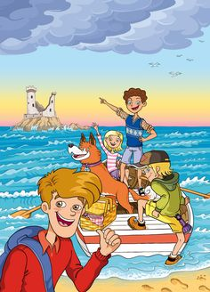 """Selection of covers and inside illustrations made for the new Spanish edition of """"The Famous Five"""" collection by Enid Blyton. Composition Drawing, Picture Composition, The Famous Five, Enid Blyton, Country Scenes, H&m Kids, Preschool Education, Cartoon Pics, Animal Crafts"""