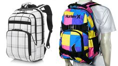 """$16.99 + FREE shipping! Choice: Hurley """"Honor Roll Skateboard"""" or """"Puerto Rico"""" Backpack w/Padded Straps & Key Clip!"""
