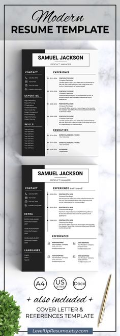 Resume Template + Cover Letter and Reference - EDITABLE (Pink +
