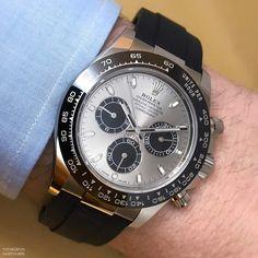 Rolex Cosmograh Daytona chronograph in white gold with black ceramic bezel and Oysterflex bracelet in elastomer Rolex Gmt, Rolex Submariner, Rolex Watches, Wrist Watches, Elegant Watches, Beautiful Watches, Rolex Cosmograph Daytona, Rolex Daytona, Rolex Cellini