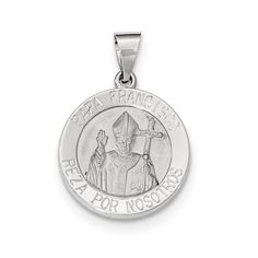 14K White Gold Brushed and Polished Hollow Pope Francisco Medal Charm, Women's