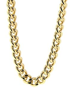 """Mens 18k Gold Plated 36"""" Inches Hip Hop Cuban Curb Link Chain Necklace 10mm ** Check out the image by visiting the link."""