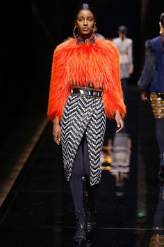 Balmain | Fall 2014 Ready-to-Wear Collection | Style.com navy tights, patterned skirt