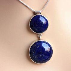 Blue pendant, Lapis lazuli pendant in sterling silver