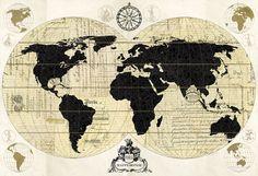 Vintage World Map - Canvas-taulut (maalaus) - Photowall