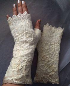 Custom orders only . Takes 4 days .Fingerless felted  white gloves,white  cream wool glove wrist warmers
