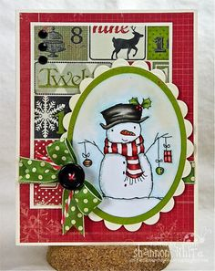 i like the background paper used on this card. could get that affect by using different holiday paper scraps.