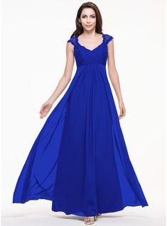 A-Line/Princess V-neck Floor-Length Chiffon Lace Bridesmaid Dress (007065568)