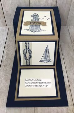 This is from the Sailing Home Bundle from Stampin' Up! This bundle has been another one of my favorites. I have more great cards coming with this bundle. Z Cards, Fun Fold Cards, Folded Cards, Stampin Up Cards, Easel Cards, Birthday Cards For Men, Male Birthday, Nautical Cards, Shaped Cards