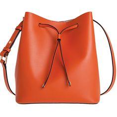 Lodis Blair Gail Medium Crossbody ($240) ❤ liked on Polyvore featuring bags, handbags, shoulder bags, purses, accessories, bolsos, orange, crossbody bucket bag, crossbody purse and drawstring bucket bag