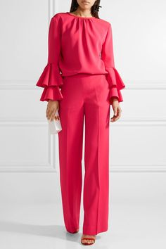 Fuchsia stretch-cady Concealed hook and zip fastening at side 96% viscose, 4% elastane; pocket lining: 100% silk Dry clean Designer color: Tourmaline Made in Italy