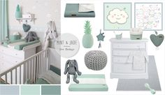 Babyzimmer mit Wolken in grau, mint & jade - Eva Catfish - . Baby room with c Mint Nursery, Baby Nursery Neutral, Baby Bedroom, Baby Boy Rooms, Boys Room Decor, Kids Room, Baby Zimmer, Fantastic Baby, Baby Kids
