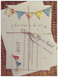 Bunting Wedding Invitation. 'Vintage Spring' by FromLeoniWithLove, £3.60