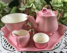 Royal Winton Grimwades Pink Petunia Breakfast set