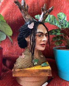 Bust of paper mache Frida with fabric clothes and paper horns on wooden construction. Effigy, Paper Mache, Horns, Art Dolls, My Arts, Fabric, Etsy, Painting, Products