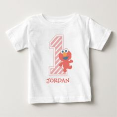 Customizable T-Shirt made by Zazzle Apparel. Personalize it with photos & text or shop existing designs! 1st Birthday Shirts, Baby Girl First Birthday, Diy Elmo Birthday Party, Happy Birthday, Sesame Street Party, Sesame Street Birthday, Baby Elmo, Baby Baby, Kid Character