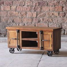 Little Tree Furniture Hyatt Reclaimed Wood TV Unit on Wheels | Tables | Dining Room