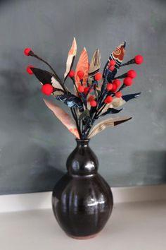 Fabric Sprig Trio - Zenbu Home Japanese Things, Berries, Objects, Vase, Fabric, Red, Handmade, Stuff To Buy, Beautiful