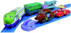 If budget is not at all a problem, you'd better look into this product. This is a Plarail Chuggington set that features Koko and Hodge. Two of the famous and known characters in the chuggington train series. The set comes with 3 interchangeable freight cars making it a total of 5 pieces.