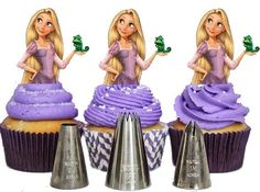 Your Cupcake is Her Dress Rapunzel Tangled cupcake Toppers Princess Birthday Party Decorations Set of 12 Unique and very cute Princess Theme Cake, Princess Birthday Party Decorations, Rapunzel Birthday Party, Princess Cookies, Baby Birthday Cakes, Disney Princess Party, Twin Birthday, Tangled Party, Birthday Board
