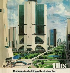 Original 1974 Ad Otis Elevator Futuristic Building Llustration by John Berkey John Berkey, Sience Fiction, Futuristic Robot, Colani, Future Buildings, 70s Sci Fi Art, New Retro Wave, World Of Tomorrow, Science Fiction Art