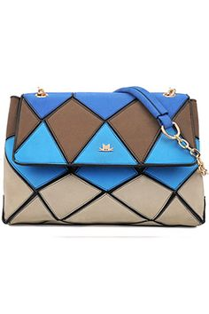 Romwe.com Colorful Jigsaw Blue Satchel    $105.99