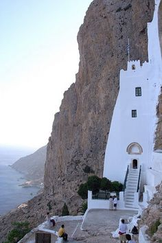 """The Monastery of Panagia Hozoviotissa in Amorgos, Greece. Don't miss it if you are in Amorgos.It's near the """"Agia Anna'' beach."""