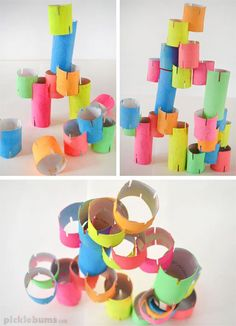 Two bored children. A whole heap of cardboard tubes. What do you do with these three items? Make a cool DIY cardboard tube construction toy! This simple DIY construction Cardboard Tube Crafts, Cardboard Toys, Cardboard Playhouse, Cardboard Furniture, Playhouse Furniture, Paper Toys, Diy Toys And Games, Diy Games, Toilet Paper Art