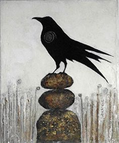 "I ROCK- Contemporary Whimsical Raven Painting by Cristina Del Sol Oil & Collage ~ 12"" x 10"""