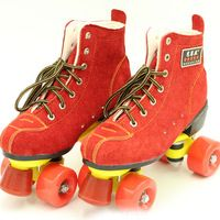 New Women's Roller Skate Quad Skates Boots Double Line 4 Wheels Red Skating Patins Shoes