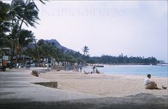 Kuhio Beach 1958    Looking diamond head along the stretch of east Waikiki known as Kuhio Beach. Old slide marked 1958.