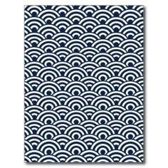 navy blue and white japanese wave