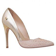 Shoes / calçados Scarpin Scarpin feminina nadine carmim nude/ouro - Carmim Store