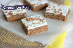 Healthy Cinnamon Bun Squares Recipe Desserts with oat flour, peanut flour, almond flour, brown rice, ground cinnamon, chopped pecans, nut butter, liquid sweetener, stevia, almond milk, coconut oil, cream cheese, white chocolate chips, pecans, white chocolate chips, caramel topping