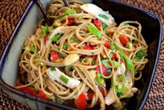 Asian chicken-noodle salad with peanut ginger dressing. Making this for Alex to take to his holiday potluck at work.