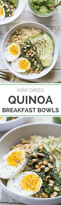Savory Pesto Quinoa Breakfast Bowls topped with a soft boiled egg, sliced avocado and toasted pine nuts | recipe on simplyquinoa.com