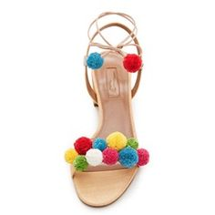 Shoespie Colorful Balls Square Heel Lace Up Sandals