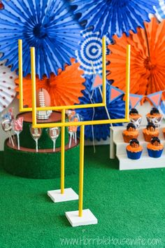 DIY football field - goal posts, bleachers, and more