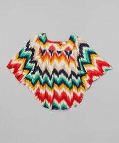 Mixed Up Clothing Red & Teal Zigzag Poncho - Toddler & Girls by Mixed Up Clothing #zulily #zulilyfinds