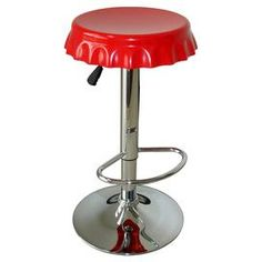 Set of two swiveling chromed barstools with red bottle cap-shaped seats and built-in footrests.  Product: Set of 2 barstoolsConstruction Material: ABS plastic and heavy duty steelColor: Red and silverFeatures:   360 Degree swivel seatBuilt-in footrest Dimensions: 32 H x 13 Diameter each