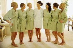 BRIDESMAIDS GIFTS: MONOGRAMED ROBES..Such a great idea because it's the perfect way to have stylish getting ready photos instead of everyone in street clothes.