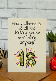 Funny 18th birthday cards, 18th birthday gifts, handmade cards, hilarious cards