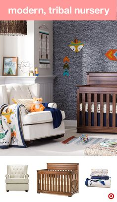 Rustic yet modern, this Aztec-inspired, tribal nursery feature bold, on-trend colors of orange, teal, mustard and olive, not to mention an adorable little fox character. Add cute wall decor, sweet plush friends and other fun choices. A convertible crib is a must-have, as it grows with your little one, transitioning from a crib to toddler bed to a full-sized. Next up, a cozy glider and ottoman for cozy one-on-one time. Each is a perfect addition to your baby registry.