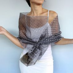 Gray Organza Evening Shawl, Silver Shimmery Polka Dot Shawl, Mother of... ($40) ❤ liked on Polyvore featuring accessories, scarves, mammamiaeme, gray scarves, grey scarves, evening shawl, wrap scarves and grey shawl