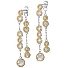 Sparkling CZ Sterling Silver & 14kt Gold Plated Post Earrings