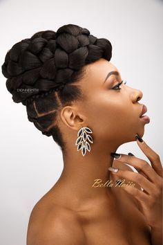BN Bridal Beauty: International Bridal Hair Specialist, Dionne Smith presents Elegant Evening Bridal Hair Inspiration with a Twist! Natural Hair Wedding, Natural Hair Updo, Natural Hair Styles, African Braids Hairstyles, Braided Hairstyles, Wedding Hairstyles, Wedding Updo, Quinceanera Hairstyles, Updo Hairstyle