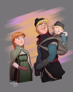 minnothebunny: ❁ So Show Me Family ❁ Well here it is! My Bjorgman family, daddy!Kristoff baby-wearing, dream come true commission from the amazingly talented comickergirl. Enjoy :)